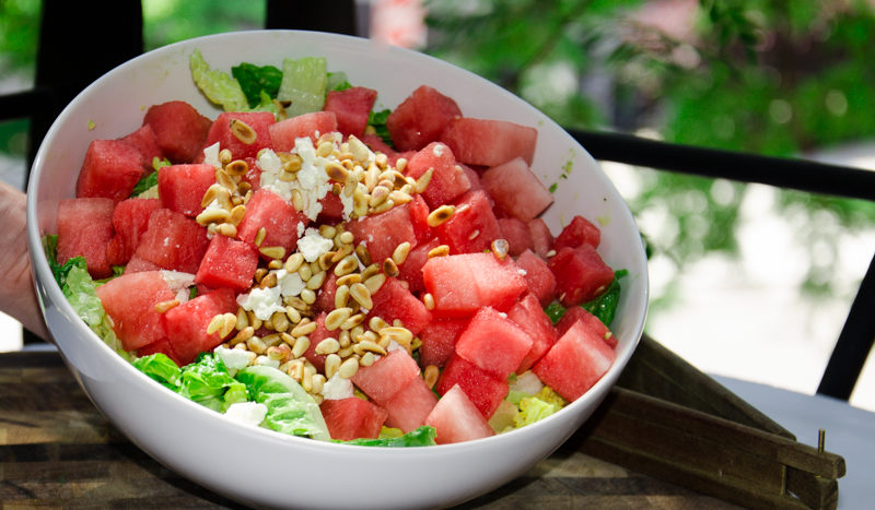 Watermelon Salad with Creamy Mint Dressing